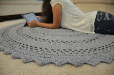 "LARGE Hand Crochet Lace Doily Area Rug GREY 60"" Cotton Vintage Style"