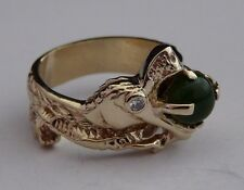 VINTAGE 14K YELLOW GOLD HAND MADE DRAGON WITH DIAMOND AND JADE STONE RING