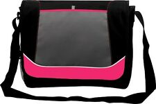 Girls College School Messenger Shoulder Despatch Bag Pink Trim Black Grey 7123