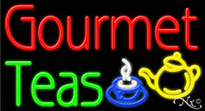 "NEW ""GOURMET TEAS"" 37x20 LOGO REAL NEON SIGN W/CUSTOM OPTIONS 11302"