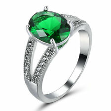 Size 6.5  Vintage Crystal Green Emerald Claw Ring 14KT White Gold Filled Jewelry