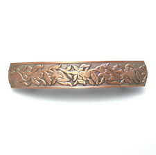 Unique Satin Copper Silver Flowers Barrette Vintage Style Updo Metal Hair Clip
