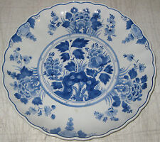 "Vintage Delft PORCELEYNE FLES Blue & White Flowers 12"" CHARGER w SCALLOPED EDGE"