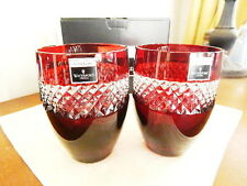 Waterford Crystal John Rocha Ruby RED CUT Tumblers Glasses  Set / 2 - NEW / BOX!