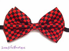 Checker Red & Black Bow Tie Checkers Bowtie Adjustable Strap Wedding Rockabilly