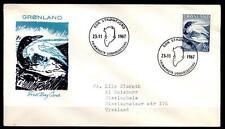 Eistaucher, Kolkrabe und Volkssagen. FDC-Brief. Grönland 1967
