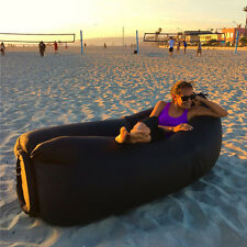 New Black Inflatable Lounger Air Filled Beach Sleep Compression Sofa Mattresses