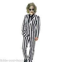 Mens Deluxe Beetlejuice Costume Party Halloween Film Fancy Dress Stag Suit Mask