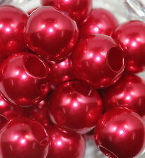 Hot Selling 10/50Pcs Big Hole Lucite Resin Pearl Spacer Crafts Loose Beads 12mm