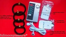 ELECTROSEX, ESTIM TENS ENLARGEMENT SET WITH 4 CONDUCTIVE RINGS PADS AND UNIT,UK!