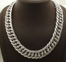 "18"" Technibond All Shiny Triple Curb Link Chain Necklace Platinum Clad Silver"