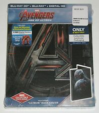 """MARVEL Blu-ray 3D Avengers Age of Ultron (NEW) w/ Steelbook """"Ultron"""" Back Cover"""