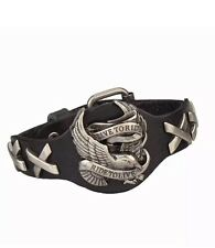 "BLACK GENUINE LEATHER ""LIVE TO RIDE""  Eagle  Harley STYLE BRACELET 10"""