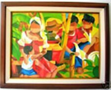 Family and Rooster 18x24 by Ricardo Art Philippines Oil Painting