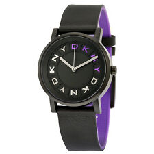 DKNY Soho Black Dial Black Leather Ladies Casual Watch NY2389