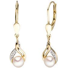 Ohrringe Ohrhänger Boutons 2 Süßwasser Perlen 2 Diamanten 585 Gelbgold 44044