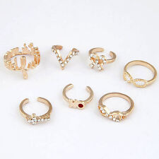 7PCS Women Popular Crystal Bowknot Knuckle Midi Mid Finger Tip Stacking Ring Set