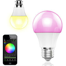 E27 LED RGB Color Bulb Light Lamp Bluetooth Speaker Smart APP Music Player L4E1
