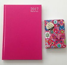 2 x 2017 - A5 Pink Diary & Pocket diary Week to view