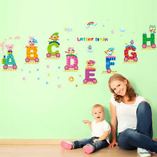 Colorful Animals Letters Train Removable Wall Sticker Kids Mural DIY Viny Decal
