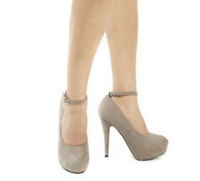 New Gray Taupe ankle Strap High Heel hidden Platform Pump close toe shoe sz 9