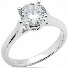 2.01 ct Round Ideal cut Natural Diamond Engagement 14k White Gold Ring H color