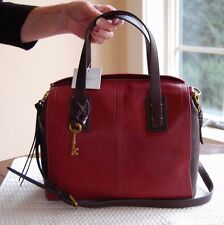 NWT Fossil Leather Emma Colorblock Satchel Red Multi ZB6909995