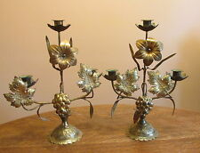 Vintage Italy Brass Figural Candelabra Grapes Leaves Flowers Three Light Pair