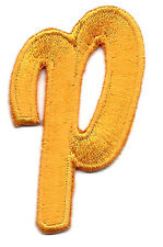 """LETTERS - Golden Yellow Script  2"""" Letter """"P"""" - Iron On Embroidered Applique"""