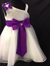 BABY-GIRLS IVORY-HOT PINK FRILLY BOW DRESS PINK/PURPLE WEDDING/PARTY 0-2-3-4 YRS