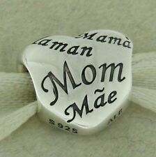 Authentic Pandora 791112 Mother's Heart Sterling Silver Bead Charm