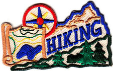 """HIKING"" w/Compass- Iron On Embroidered Applique Patch- Sports, Hiker,Outdoors"