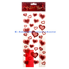 12 VALENTINE'S DAY Party bag CELLO Cellophane Goody Treat HEART PRINT candy BAGS