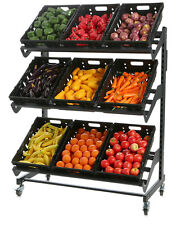 FRUIT AND VEGETABLE OUTSIDE DISPLAY STAND ON LOCKING CASTORS 1200MM LONG