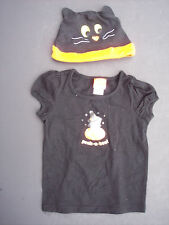 Girl Halloween Tee T-Shirt Hat Set Toddler Sz 2T Black Witch Cat Pumpkin Costume