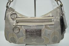 Coach Poppy Signature Lurex Gray Silver Groovy Small Hobo Baguette Purse 15858