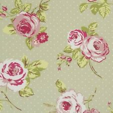 Clarke and Clarke English Rose Sage Design Upholstery Curtain Craft Fabric