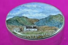 vintage sterling silver painted enamel box Paul Henry Irish landscape view 1986