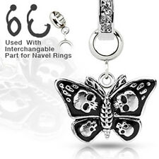 1 Bauchnabelpiercing Charm Anhänger Schmetterling Totenköpfe Rockabilly