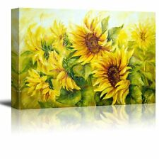 """Canvas Prints Wall Art - Sunflowers in Oil Painting Style - 24"""" x 36"""""""