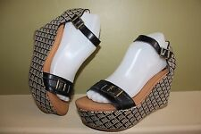 BC SHOES PLATFORM WEDGES SANDALS BLACK AND WHITE LANYARD CROSS STICH RETRO 7.5