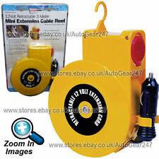 Car Van 12v Cigarette Lighter Socket Retractable 3 Metre Extension Cable Reel