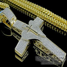 Genuine Diamond Cross Wings Pendant Men's 10K Yellow Gold Finish Franco Necklace