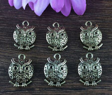 Wholesale 6pcs Gold OWL Charm Alloy Pendant beaded Jewelry Findings DIY R2Z