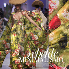 100% PURE SILK CHIFFON FABRIC GREEN WITH RED PEONY PRINT BY THE METER S257