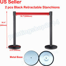2pcs Thick Steel Retractable Red Belt Stanchions Posts Queue Pole Crowd Control