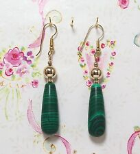 "Malachite Beaded Earrings With 14K Gold Filled 2 1/2"". MCGF006"