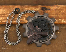 Steampunk Necklace Metal Multi Finish Large Gear Motif Pendent