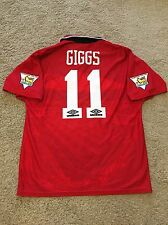 MANCHESTER UNITED HOME SHIRT 1994/96 ADULTS LARGE (L) GIGGS 11 VINTAGE UMBRO