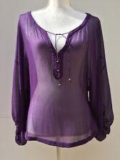 DIANE VON FURSTENBERG size 8 $268 Yasmin Silk Sheer Purple Blouse